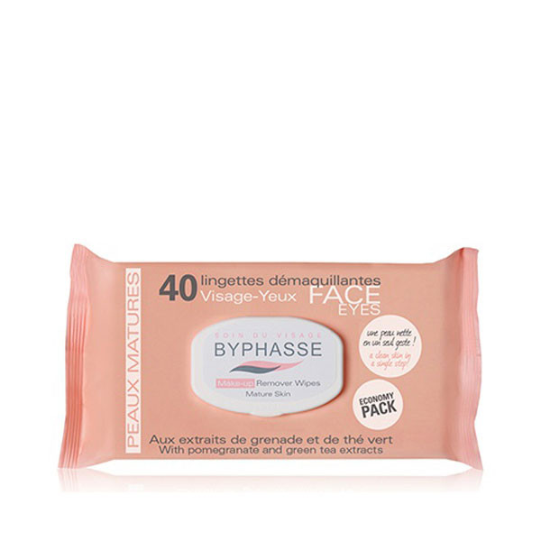BYPHASSE Make-up remover wipes pomegranate extract and green tea 40U