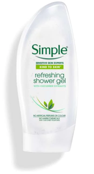 SIMPLE REFRESHING SHOWER GEL WITH CUCUMBER 250 ML